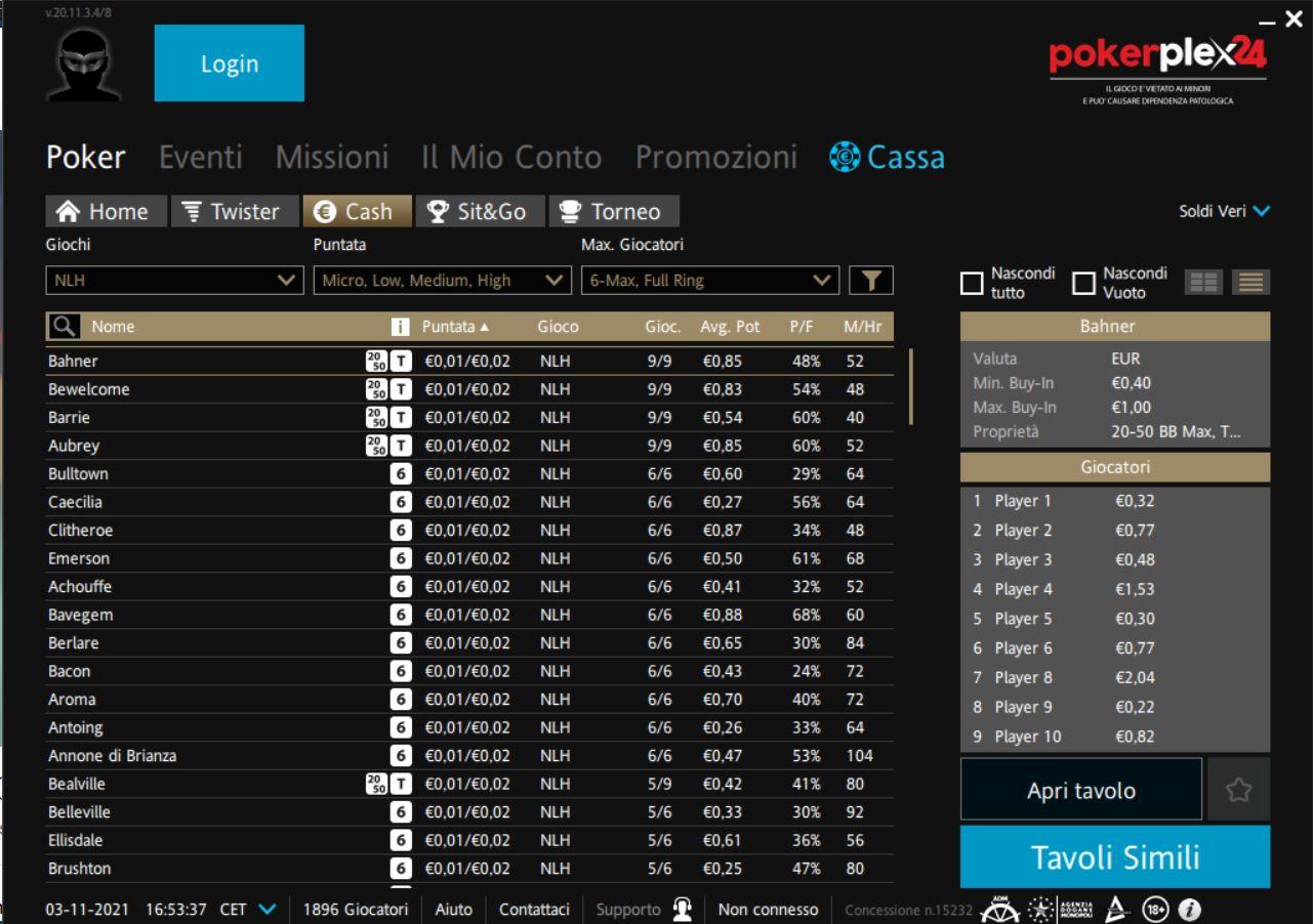 Ipoker.it Cash Game lobby