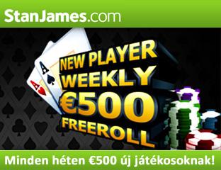 500 eurós heti freeroll új játékosoknak