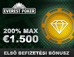 200% akár €1500 kezdőbónusz az Everest Pokeren
