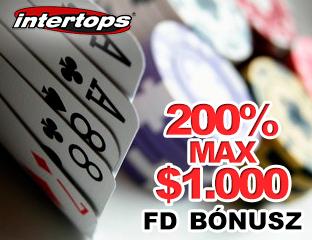 Intertops Poker első befizetési bónusz