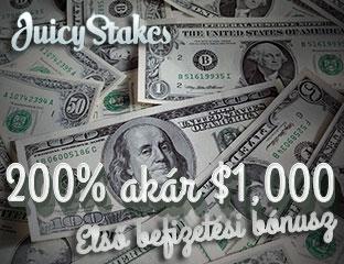 200% akár $1.000 első befizetési bónusz