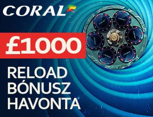 £1.000 Reload Bónusz havonta