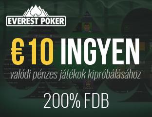 200% akár €1500 kezdőbónusz + €10 ingyen az Everest Pokeren