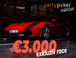 PartyPoker - Party-bwin - €3,000 - exkluzív cash race - 2019. március 1-31.