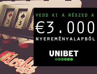 Unibet - €3,000 - exkluzív cash race - 2020. április 1-30.