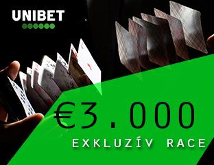 Unibet - €3,000 - exkluzív cash race - 2020. augusztus 1-31.