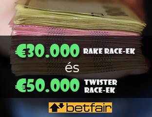 Betfair - €15,000 - pooled cash race - 2021. január 16-31.