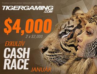 TigerGaming - Chico - $2,000 - exkluzív cash race - 2017. január 16-31.