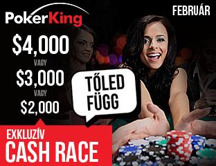 PokerKing - Winning Poker Network - $2,000 - exkluzív cash race - 2017. február 1-28.