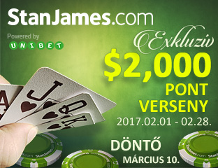 Stan James Poker - Microgaming - exkluzív point chase - 2017. február 1-28.