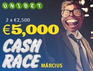 Unibet - €2,500 - exkluzív cash race - 2017. március 15-31.