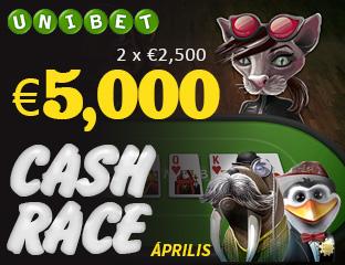 Unibet - €2,500 - exkluzív cash race - 2017. április 15-30.
