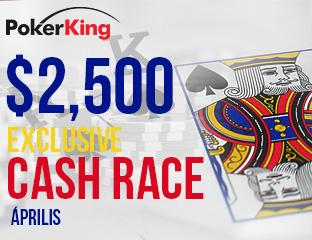 PokerKing - Winning Poker Network - $2,500 - exkluzív cash race - 2017. április 1-30.