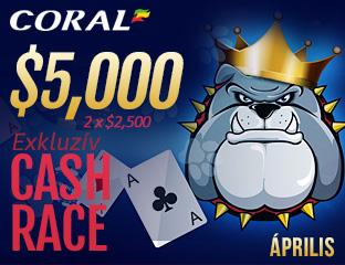 Coral Poker - iPoker - $2,500 - exkluzív cash race - 2017. április 16-30.