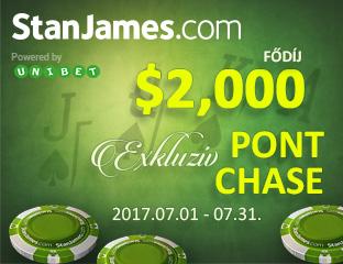 Stan James Poker - Microgaming - exkluzív point chase - 2017. július 1-31.