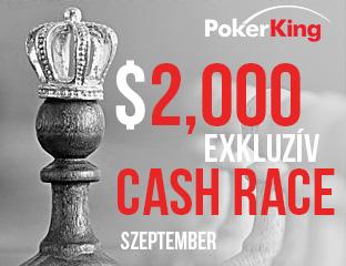 PokerKing - Winning Poker Network - $2,000 - exkluzív cash race - 2017. szeptember 1-30.