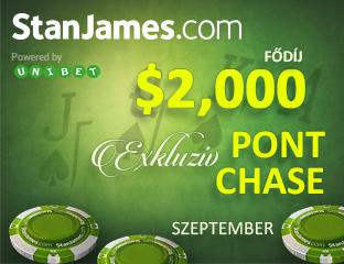 Stan James Poker - Microgaming - exkluzív point chase - 2017. szeptember 1-30.