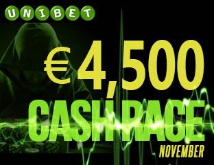 Unibet - €4,500 - exkluzív cash race - 2017. november 1-30.
