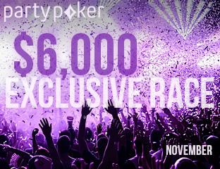 PartyPoker - Party-bwin - $6,000 - exkluzív cash race - 2017. november 1-30.